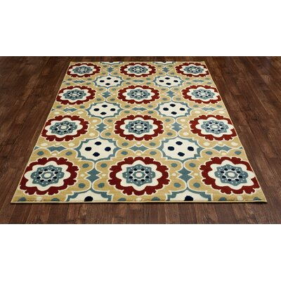 Northville Machine Woven Beige Indoor/Outdoor Area Rug Rug Size: 53 x 77