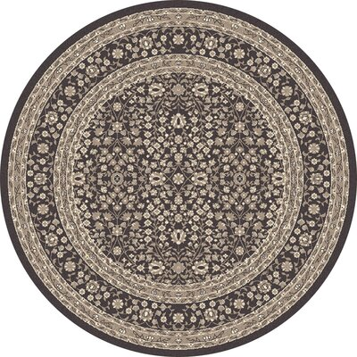 Kensington Machine Woven Gray Area Rug Rug Size: Round 8