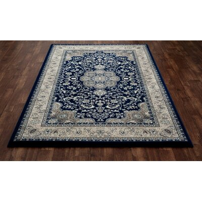Lang Navy Area Rug Rug Size: 92 x 124