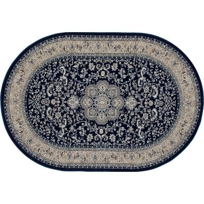 Lang Navy Area Rug Rug Size: OVAL 53 x 77