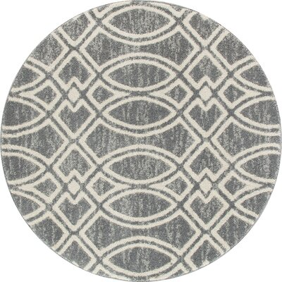 Highline Gray Area Rug Rug Size: Round 8