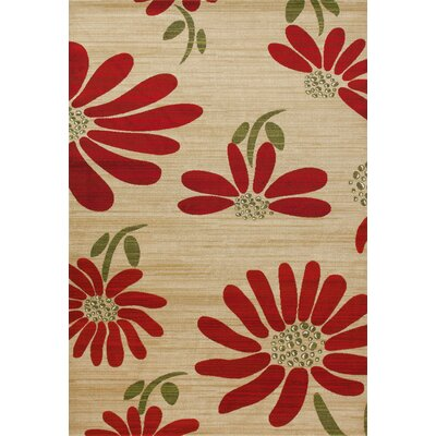 Antigua Spring Daisy Cream/Red Indoor/Outdoor Area Rug Rug Size: 3 x 4