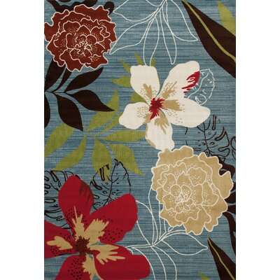 Antigua Tropical Blue/Red Indoor/Outdoor Area Rug Rug Size: 5 x 8