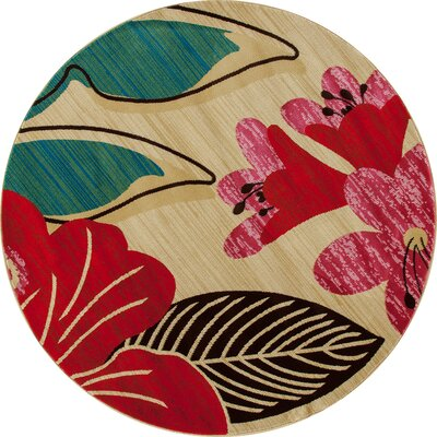 Vasser Hibiscus Yellow/Red Indoor/Outdoor Area Rug Rug Size: ROUND 53