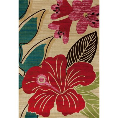 Antigua Hibiscus Yellow/Red Indoor/Outdoor Area Rug Rug Size: 7 x 9