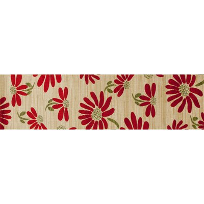 Vasser Spring Daisy Cream/Red Indoor/Outdoor Area Rug Rug Size: Runner 22 x 81