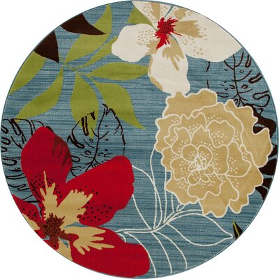 Antigua Tropical Blue/Red Indoor/Outdoor Area Rug Rug Size: Round 5