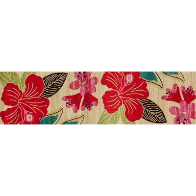 Vasser Hibiscus Yellow/Red Indoor/Outdoor Area Rug Rug Size: Runner 22 x 81