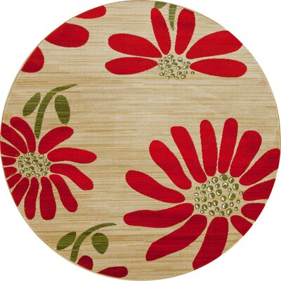 Antigua Spring Daisy Cream/Red Indoor/Outdoor Area Rug Rug Size: Round 8