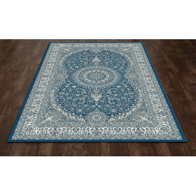 Kensington Blue Area Rug Rug Size: Oval 4 x 6
