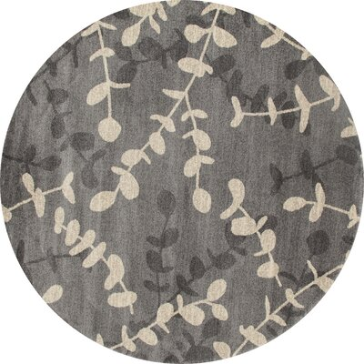 Vasques Gray/Cream Area Rug Rug Size: ROUND 53