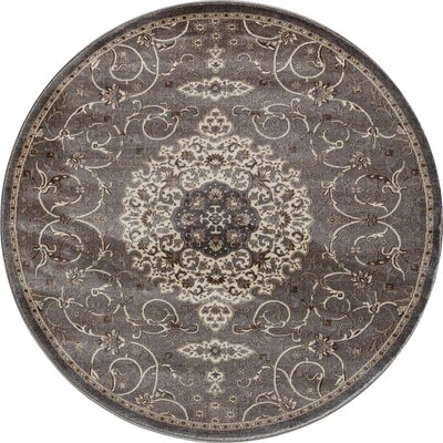 Landy Gray Area Rug Rug Size: ROUND 53