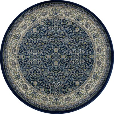 Landy Navy/Tan Area Rug Rug Size: ROUND 53