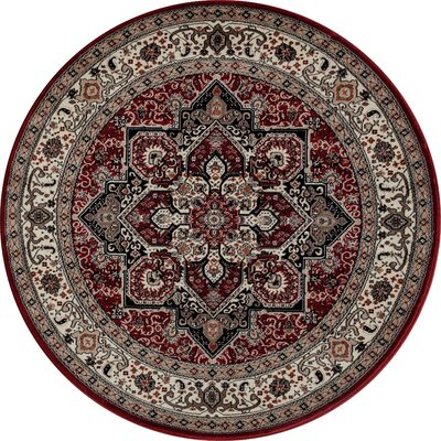 Landy Red/Beige Area Rug Rug Size: ROUND 53
