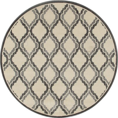 Dexter Gray/Ivory Area Rug Rug Size: Round 710