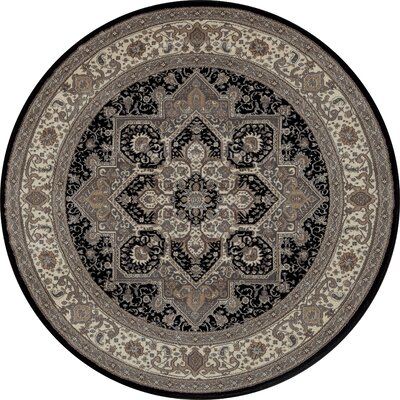 Landy Black/Gray Area Rug Rug Size: ROUND 710