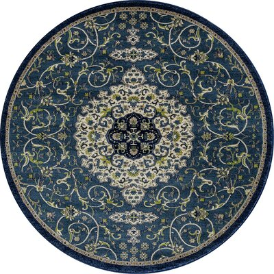 Landy Peacock Blue Area Rug Rug Size: ROUND 53