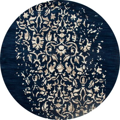 Dexter Peacock Blue Area Rug Rug Size: Round 53