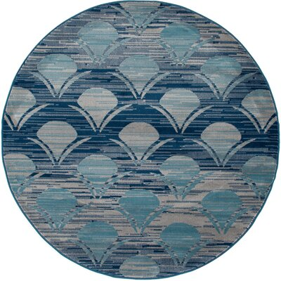 Ceasar Waves Gray Indoor/Outdoor Area Rug Rug Size: ROUND 710