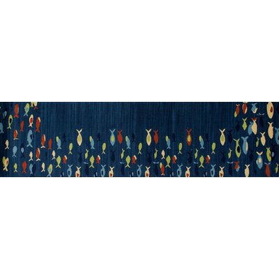 Seaport Fish School Navy Indoor/Outdoor Area Rug Rug Size: Round 53