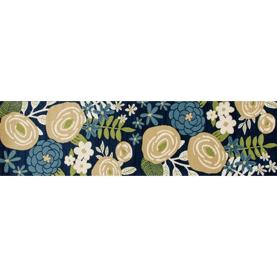 Seaport Seaside Boquet Blue Indoor/Outdoor Area Rug Rug Size: 27 x 311