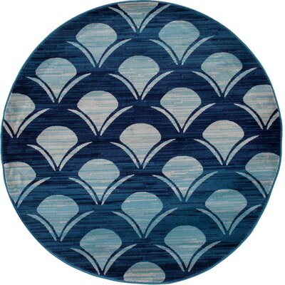 Ceasar Waves Navy Indoor/Outdoor Area Rug Rug Size: 6'7 x 9'2