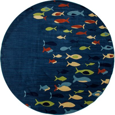 Ceasar Fish School Navy Indoor/Outdoor Area Rug Rug Size: 27 x 311