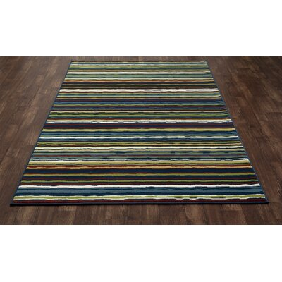 Seaport Wavy Stripe Blue/Red Indoor/Outdoor Area Rug Rug Size: 53 x 77