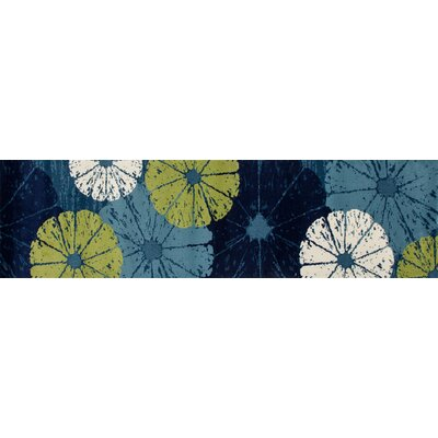 Seaport Citrus Slice Blue Indoor/Outdoor Area Rug Rug Size: 27 x 311