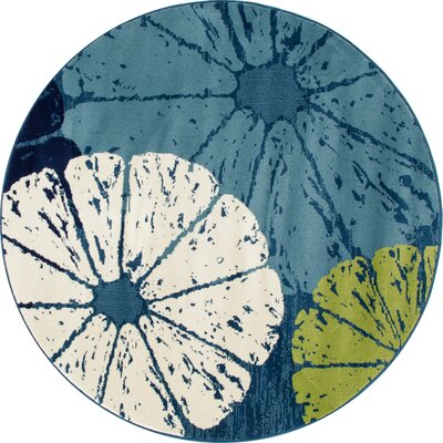 Ceasar Citrus Slice Blue Indoor/Outdoor Area Rug Rug Size: ROUND 53
