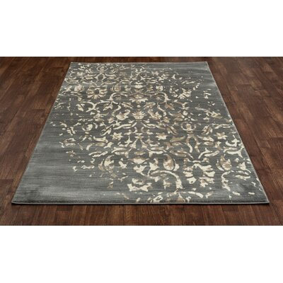 Highland Gray/Cream Area Rug Rug Size: 22 x 37