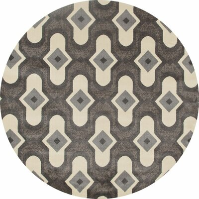 West Hewish Gray/Cream Area Rug Rug Size: ROUND 53