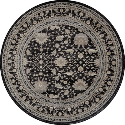 Highland Black/Cream Area Rug Rug Size: ROUND 53