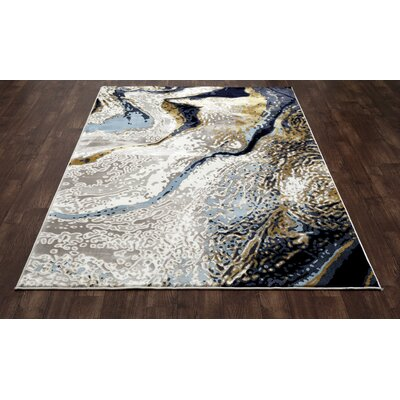 Titanium Yellow/Cream Area Rug Rug Size: 53 x 81