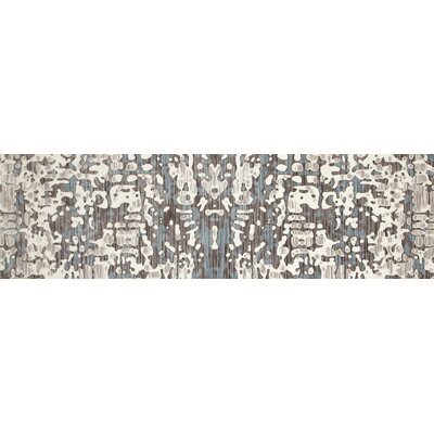 Titanium Cream/Blue Area Rug Rug Size: Runner 27 x 94