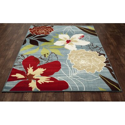 Vasser Tropical Blue/Red Indoor/Outdoor Area Rug Rug Size: 92 x 124