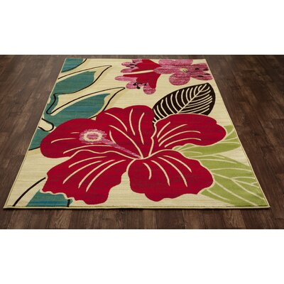 Vasser Hibiscus Yellow/Red Indoor/Outdoor Area Rug Rug Size: 92 x 124