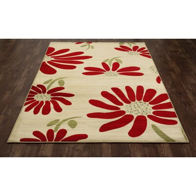 Vasser Spring Daisy Cream/Red Indoor/Outdoor Area Rug Rug Size: 27 x 311