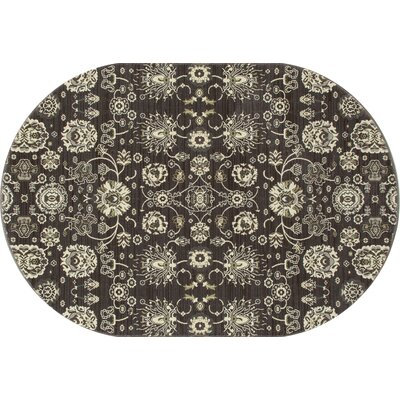 Maison Gray/Cream Area Rug Rug Size: Oval 67 x 910