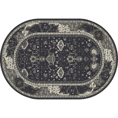 Castellano Gray/Blue Area Rug Rug Size: OVAL 53 x 81