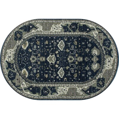 Castellano Navy Blue/Cream Indoor/Outdoor Area Rug Rug Size: OVAL 53 x 81