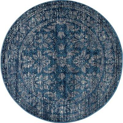 Devay Blue Area Rug Rug Size: ROUND 53