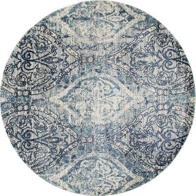 Devay Tibetan Steel Blue Area Rug Rug Size: ROUND 53