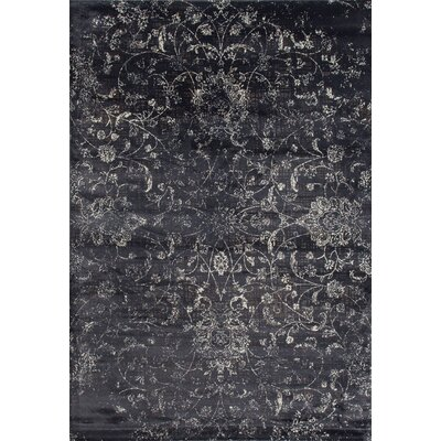 Devay Floral Gray Area Rug Rug Size: 53 x 77
