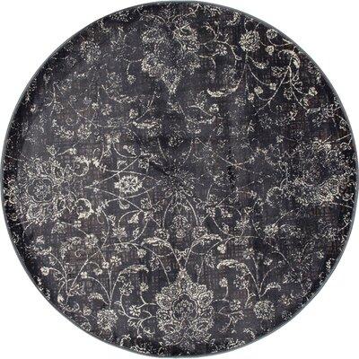 Devay Floral Gray Area Rug Rug Size: ROUND 53