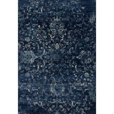 Devay Floral Steel Blue Area Rug Rug Size: 53 x 77