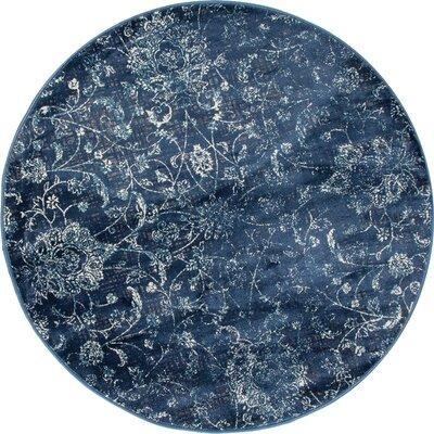 Devay Floral Steel Blue Area Rug Rug Size: ROUND 53