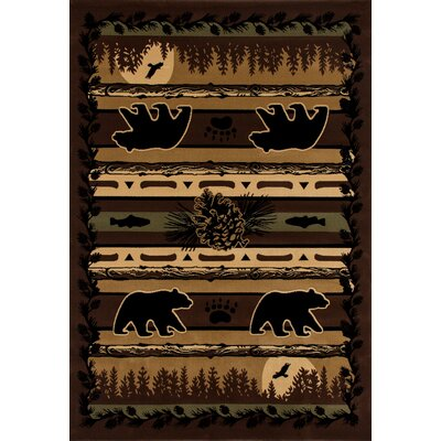 Raritan Grizzly Forest Black Area Rug Rug Size: 53 x 77
