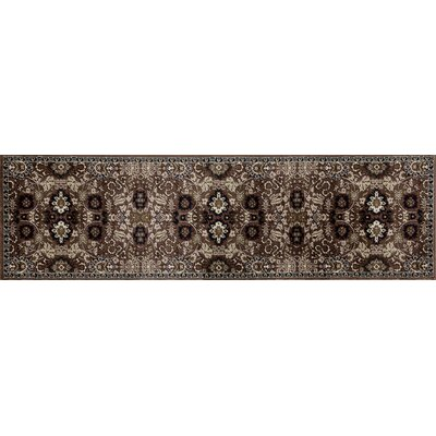 Hudson Brown/Cream Area Rug Rug Size: Runner 22 x 77