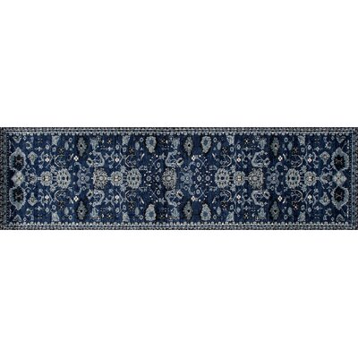 Sabanc Machine Woven Navy Area Rug Rug Size: Runner 22 x 77